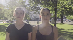 Ballerinas Walk To Class, Cut Through Park, They Are Intense/Focused Stock Footage