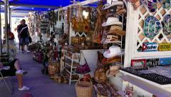 Tourists Shopping Souvenirs Gifts Shirts Market Shop Fair Stalls Cuba - stock footage