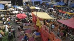 Morning vegetable market in Old Delhi,New Delhi,India Stock Footage