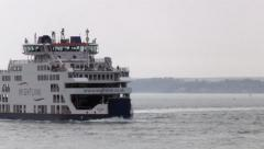Stock Video Footage of Isle of Wight Ferry Navigating the Solent in Hampshire