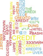 Credit multilanguage wordcloud background concept Stock Illustration
