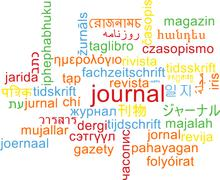 Journal multilanguage wordcloud background concept - stock illustration