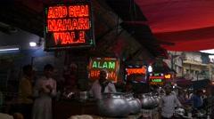 Muslim restaurants at Hazrat Nizam,New Delhi,India Stock Footage
