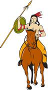 Native American Indian Brave Riding Pony Cartoon Stock Illustration
