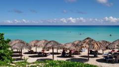 White Sand Beach Tropical Ocean Caribbean Sea Cuban Holidays Cuba Stock Footage