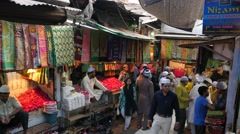 Shops in small streets to Hazrat Nizam mosque,New Delhi,India Stock Footage