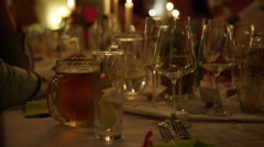 Wedding Dinner Table Candlelight - 4k Stock Footage
