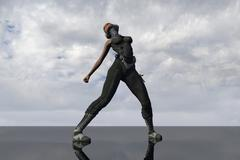 Science Fiction Character Dance Pose - CG Stock Illustration