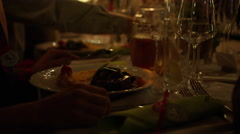 Wedding Dinner Table Candlelight Meal - 4k Stock Footage