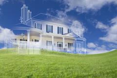 Beautiful Custom House Drawing and Ghosted House Above Grass Field. - stock photo