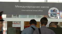 Russia.Moscow- 2014: Passengers in the main hall of the Kursky Railroad Terminal Stock Footage