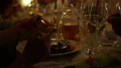 Wedding Dinner Table Eating Candlelit Meal - 4k Stock Footage