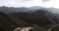 4K panning shot of the Great Wall of China Stock Footage
