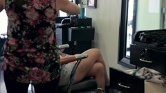 Beautiful Girl and Blow-Drier in Beauty Salon Stock Footage