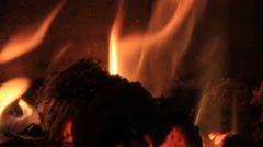 Fireplace at home, winter, inside, fire, burning, energy Stock Footage