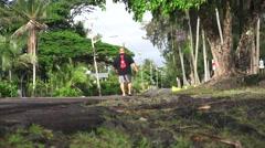 Hawaiian man walking, ethnic  Stock Footage
