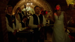 Moravian Band Playing Slow Singing Bride Wine - 4k Stock Footage