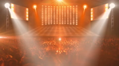 Crowded music concert stage Stock Footage