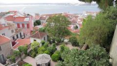 Gardens below São Jorge Castle - Pan Stock Footage