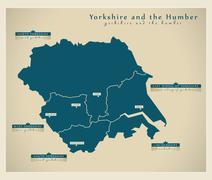 Modern Map - Yorkshire UK - stock illustration