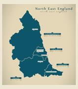 Stock Illustration of Modern Map - North East England UK