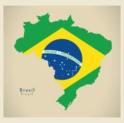 Modern Map - Brasil coloured BR - stock illustration