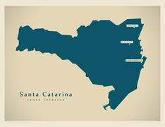 Modern Map - Santa Catarina BR - stock illustration