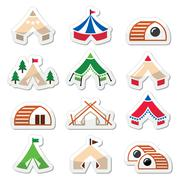 Glamping, luxurious camping tents and bambu houses icons set - stock illustration