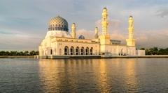 Kota Kinabalu City Mosque Day to Dusk 4K Timelapse Stock Footage