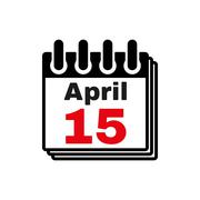 The Calendar 15 april icon. Tax day - stock illustration