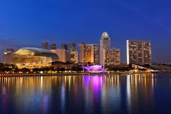 Singapore skyline panorama at Marina Bay Stock Photos