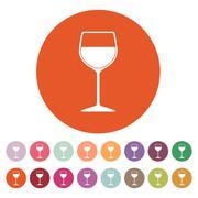 The wineglass icon. Goblet symbol. Flat - stock illustration