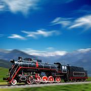 Stock Photo of Speeding old locomotive in mountains