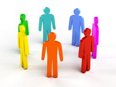 Diversity, teamwork, social network concept - colorful human figures in circl - stock illustration