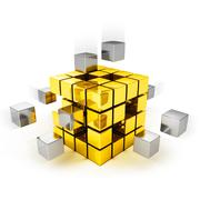 Teamwork concept - metal cubes assembling into gold one - stock illustration