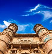 Mughal architecture - Gwalior fort entrance towers. Gwalior, Madhya Pradesh,  - stock photo
