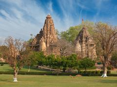 Lakshmana and Matangeshwar temples on sunset. Khajuraho, India - stock photo