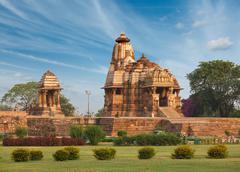 Devi Jagdamba temple and mahadev mandapa on sunrise. Khajuraho, India Stock Photos