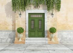 Stock Illustration of Outdoor entrance of a country house