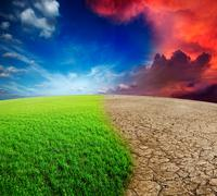 Ecology landscape - climate change concept, desert invasion Stock Photos