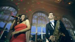 Jazz duo perfoms in a restaurant Stock Footage