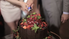 Newlyweds cut a wedding cake - stock footage
