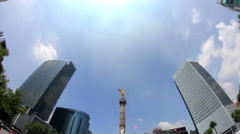 "Statue ""Independence Angel"". (Mexico City, FULL SHOT-FISHEYE). Stock Footage"