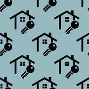 Pale blue house key pattern - stock illustration
