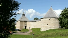 Old Ladoga Fortress, ancient capital of Northern Russia. - stock footage