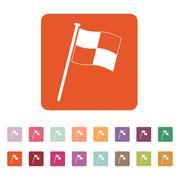 The Race flag icon. Finish symbol. Flat - stock illustration