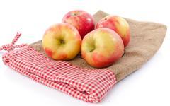Fresh royal gala apples on a burlap bag - stock photo