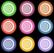 Multiple vortex with concentric stripes in different colors Stock Illustration