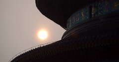 video of the sun setting over The Temple of Heaven in Beijing, China Stock Footage