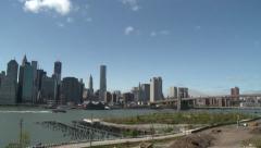 Manhattan bridge clouds timelapse 5sec - stock footage